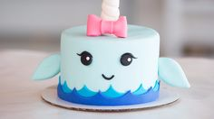 Unicorn of the Sea - Prepare to Be Obsessed With This Narwhal Cake - Food Video - Cake-Kuchen-Gateau Cake Decorating Videos, Cake Decorating Techniques, Decorating Tips, Fondant Cakes, Cupcake Cakes, 3d Cakes, Fondant Cake Decorations, Fondant Cake Designs, Owl Cupcakes