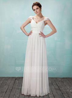 A-Linie/Princess-Linie V-Ausschnitt Bodenlang Chiffon Tüll Charmeuse Abendkleid mit Rüschen Perlen verziert (017018950)