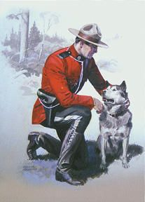 A Mountie posing with the official state dog of Alaska, the Alaskan Malamute. Although these smart dogs are predominantly used as sled dogs in the North, they have also made their way into the home as family pets. Due South, Police, Canadian Things, Saskatchewan Canada, Canadian History, O Canada, Alaskan Malamute, Le Far West, Western Art