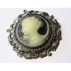 Large Round Vintage Victorian Revival Black White Cameo in Silvertone... ($28) ❤ liked on Polyvore featuring jewelry, brooches, vintage jewelry, victorian jewelry, cameo brooch, vintage broach and victorian jewellery