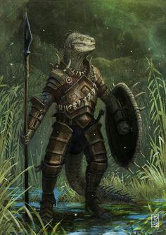 Elder scrolls argonians as inspiration? (Argonian by ~LyntonLevengood on… Fantasy Kunst, Fantasy Rpg, Medieval Fantasy, Fantasy Artwork, Dungeons And Dragons Characters, Dnd Characters, Fantasy Characters, Fantasy Monster, Monster Art