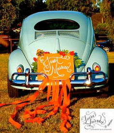 Beetle with orange ribbon and flowers