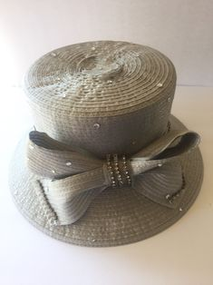 73a075d9d41 Vintage metallic gray hat- 1970- ribbon- rhinestone- straw hat- oaks day-  horse racing - Swan Hat New York- church - wedding