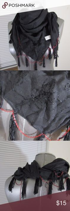 """black triangle scarf w/embroidery and chain detail 100% cotton 60"""" L x 23.5"""" H black w/black embroidery, tassels and red chains one of the chains hangs and doesn't drape All measurements are taken laying down and are approximate. no rips, tears or stains. Accessories Scarves & Wraps"""