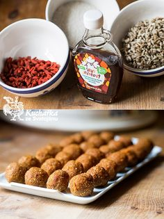 Kuchařka ze Svatojánu: KULIČKY S GOJI Healthy Treats, Raw Food Recipes, Pesto, Waffles, Cereal, Vegan, Breakfast, Sweet, Cakes