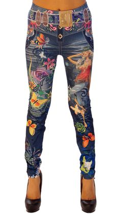 Sexy, Skin-tight Leggings, Jeans Style, Flower Power thesexiestlingerie.com, #leggings