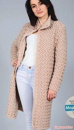 . Пальто крючком, рельефный узор - Вязание - Страна Мам