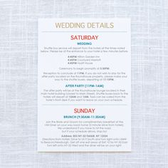 Printable Wedding Itinerary Template Wedding Weekend  The Jorns