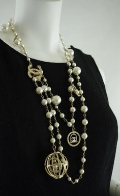 CHANEL Gold-Tone Faux Chanel Pearl & Crystal Bird Cage Charm Double Strand Necklace Chanel 5, Chanel Style, Chanel Pearls, Chanel Fashion, Fashionable Mom, Chanel Necklace, Mobile Boutique, Jewelry Designer, Bird Cage