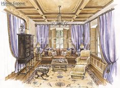 Эскизы интерьеров Ирены Барене Curtains, House, Ideas, Home Decor, Chalets, Blinds, Decoration Home, Home, Room Decor