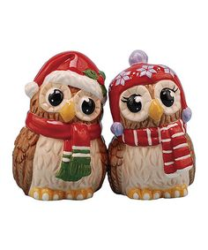 Look what I found on #zulily! Christmas Owls Salt & Pepper Shakers #zulilyfinds