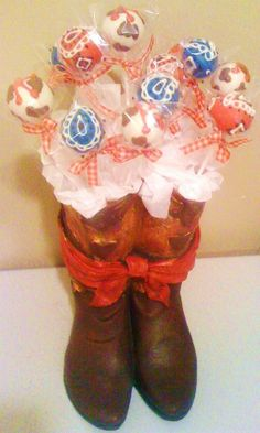 Bandana and cow print cake pops for a little girls cowgirl themed party