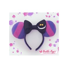 Cheshire Cat inspired Mickey Mouse ears (Disney, Cheshire, costume,... ($30) ❤ liked on Polyvore featuring costumes, cat costume, mickey mouse costume, alice in wonderland halloween costumes, alice in wonderland costume and alice in wonderland cat costume