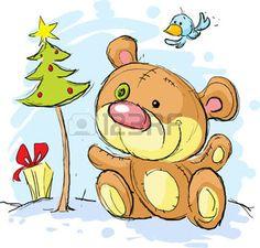 Weihnachten Postkarte-Illustration mit B�r und Weihnachtsbaum photo