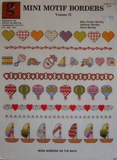 """Vintage 1983 Cross Stitch Pattern Leaflet """"Mini Motif Borders vol II"""" Used. $1.25, via Etsy."""
