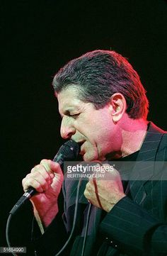 Canadian singer Leonard Cohen performs 27 May 1988 on the stage of the Grand Rex in Paris