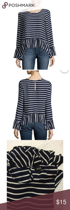 ANA | Blue & White Striped Peplum Blouse A.N.A. Peplum Hem Blouse in Navy  OUT OF STOCK ONLINE! 😍  Super Cute Navy & White combo in a Peplum top with bell sleeve and a cute flowy Hem!   EUC and never worn outside of the house! I bought it this summer and I've put it on for different outfits but I changed clothes before leaving because we ended up hiking instead of something more fashion worthy.   I'm also selling the Black & White Top NWT! Bundle & Save! ❤️ a.n.a Tops Blouses