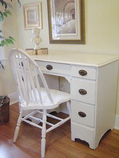 Vintage Desk and Chair distressed in White by TweakandStyle, $275.00 Painted Chest, Annie Sloan Chalk Paint, Paint Furniture, Chest Of Drawers, Corner Desk, Vanity, Chair, Vintage, Home Decor