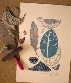 Beginning of time by Mariann Johansen Ellis http://www.flickr.com/photos/mariannjohansen-ellis/sets/72157609838529001/ #stamping #linocut #printing