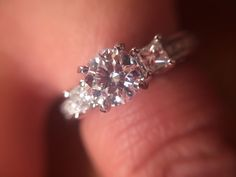 A closer shot of my engagement ring! It's gorgeous, my fiancé took this picture.