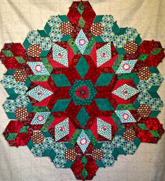 """Rosette One The New Hexagon QAL with Katja Marek, Based on the book """"The New Hexagon"""" Measures 36 inches"""