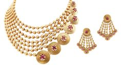 Gold beads and ruby bridal set by Azva Jewels