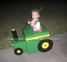 Homemade John Deere Green Tractor Costume: My son, like others, is in love with John Deere tractors.  So when he asked for a John Deere Green Tractor Costume for Halloween. I did some research and