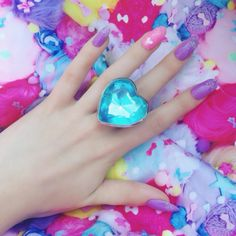 giant oversized heart gem ring, pastel goth, quirky accessories