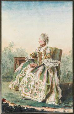 Portrait de Madame de Montainville et de Chartres, assise de profil,dans un fauteuil, portant des gants noirs et une robe volante rayée verte et blanche à paniers, garnie de rubans, tenant un livre, accoudée contre unetable,dans un parc, 1759 Louis Carrogis dit Carmontelle