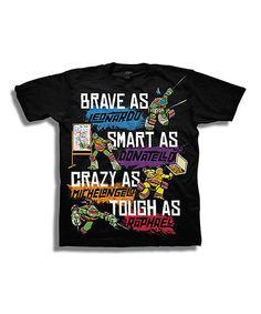 Black 'Brave As, Smart As, Crazy As, Tough As' TMNT Tee - Boys #zulily #zulilyfinds