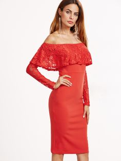Shop Orange Floral Lace Ruffle And Sleeve Off The Shoulder Dress online. SheIn offers Orange Floral Lace Ruffle And Sleeve Off The Shoulder Dress & more to fit your fashionable needs.