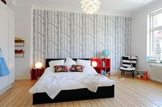 I think I want a woods/trees wallpaper as my accent wall in master bedroom but in a brown tone instead of the black here