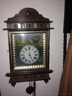 IMPRESIONANTE RELOJ DE PARED ALEMAN Y PINTADO A MANO  WALL CLOCK GERMAN