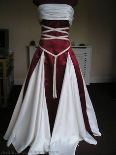 NEW PAGAN HANDFASTING WEDDING DRESS BURGUNDY RED IVORY CUSTOM 8 10 12 14 16 18 in Clothes, Shoes & Accessories, Wedding & Formal Occasion, Wedding Dresses | eBay