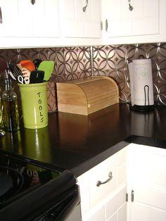 Painted countertops and tin backsplash Kitchen Redo, New Kitchen, Kitchen Cabinets, Kitchen Ideas, Life Kitchen, Basement Kitchen, Kitchen Counters, Rustic Kitchen, Painting Countertops