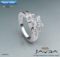 Brilliant Cut Princess Diamond Channel Engagement Ring GIA F SI1 Platinum 2 ct