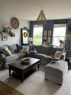 Broyhill Naples Living Room Sectional | Big Lots Simple Living Room Decor, Living Room Grey, Small Living Rooms, Rugs In Living Room, Living Room Designs, Small Family Rooms, Living Room Layouts, Decorating Small Living Room, Small Spaces