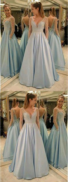 Sexy V-Neck Aline Prom Dresses,Long Prom Dresses,Cheap Prom Dresses, Evening Dress Prom Gowns, Formal Women Dress,Prom Dress #longpromdresses