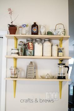 Birch plywood shelves & spray painted hardware store brackets ...