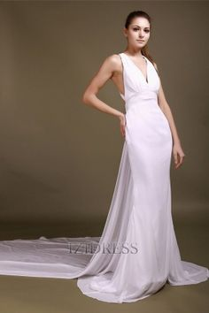 Sheath/Column V-neck Chiffon Wedding dress - IZIDRESS.com