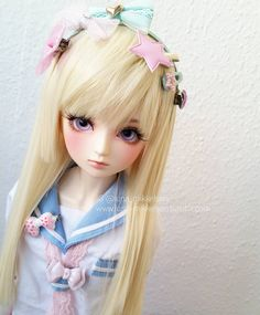 """""""Ashley's new wig. It's so soft and beautiful and the color is so pretty.... I'm in love. #bjd #fairykei #saikorfuku #angellstudio"""" by: luna_mikkelsen"""
