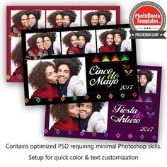 This fun Photo Booth template resonates with the celebration of Mexican-American culture, Cinco de Mayo and Spanish festivals/parties. All elements are easily customized.