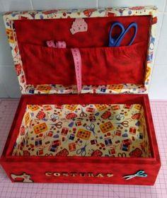 Caixa de costura - Madeira e tecido