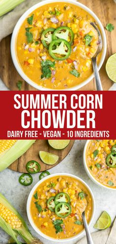 This Summer Corn Chowder is thick creamy and full of fresh summer ingredients like Jalapeño Cilantro and Red Onions Great for Meal Prep or an easy dinner its also. Whole Food Recipes, Beef Recipes, Chicken Recipes, Cooking Recipes, Cooking Pasta, Tilapia Recipes, Cooking Pork, Easy Summer Meals, Healthy Summer Recipes