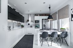 Mustavalkoista ja designia Conference Room, Studio, Table, Furniture, Design, Home Decor, Helsinki, Houses, Cooking