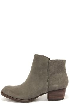 Jessica Simpson Delaine Gnocchi Grey Suede Leather Ankle Boots at LuLus.com!