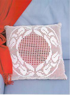 Filet crochet cushion cover …. see chart