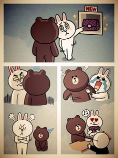 Cute brown and cony shared by Livita Iriany on We Heart It Love Cartoon Couple, Cute Love Cartoons, Line Brown Bear, Cony Brown, Cute Love Gif, Bunny And Bear, Bear Cartoon, Line Friends, Funny Bunnies