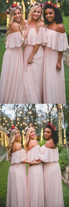 pink bridesmaid dress, long bridesmaid dress, off the shoulder bridesmaid dress, ruffle bridesmaid dress