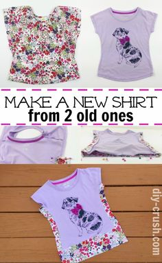 Tired of your kids outgrowing their shirts and you have to buy new ones? This DIY shows you how to make a larger shirt from two smaller ones.
